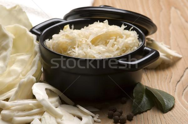 Taze lahana geleneksel lâhana turşusu salata biber Stok fotoğraf © joannawnuk