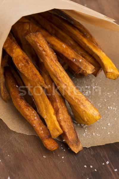 Zoete aardappel frietjes keuken groenten koken lunch Stockfoto © joannawnuk