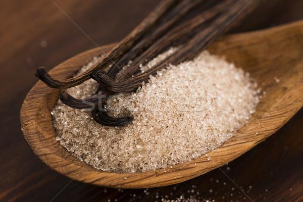 Vaniglia zucchero fagioli alimentare legno cucchiaio Foto d'archivio © joannawnuk