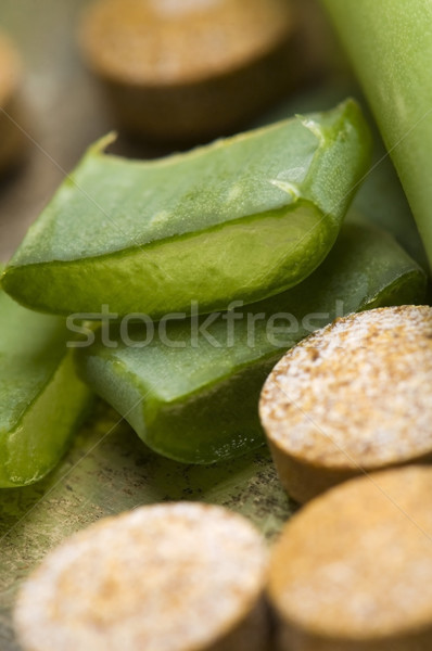 Stock photo: aloe vera plant with pills - herbal medicine