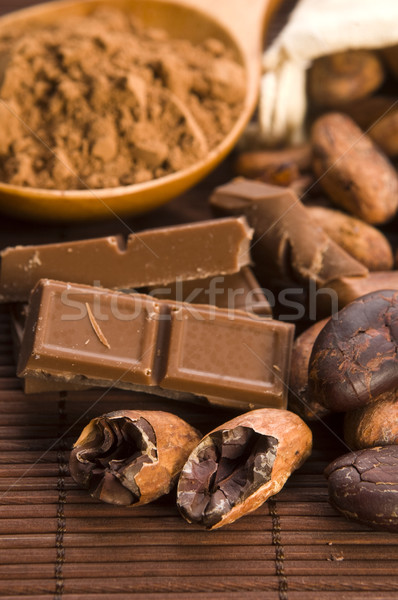 Stock photo: Cocoa (cacao) beans with chocolate