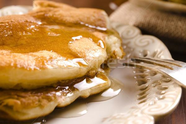パンケーキ シロップ プレート 朝食 カップ デザート ストックフォト © joannawnuk