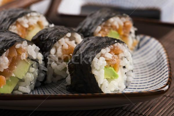 Sushi somon hizmet plaka akşam yemeği Stok fotoğraf © joannawnuk