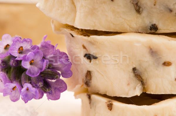 Handmade Soap With Fresh Lavender Flowers And Bath Salt Stock photo © joannawnuk