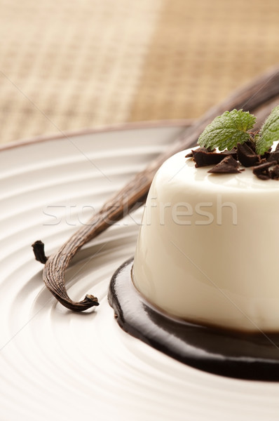 Panna Cotta with chocolate and vanilla beans Stock photo © joannawnuk