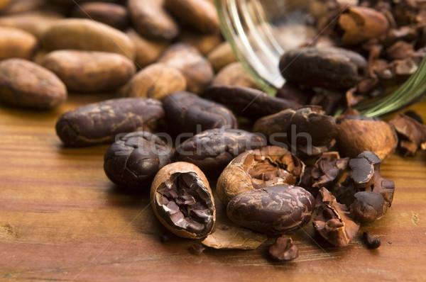 カカオ 豆 自然 木製のテーブル チョコレート キッチン ストックフォト © joannawnuk