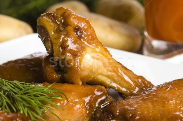 Pieczony kurczak miodu kurczaka tablicy naczyń herb Zdjęcia stock © joannawnuk