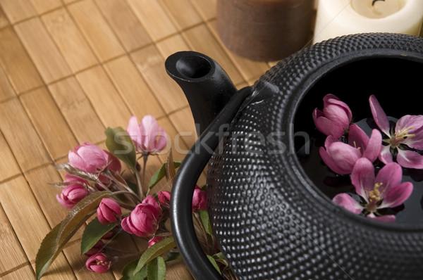 Puli herbaty czajniczek świeże kwiaty bambusa Zdjęcia stock © joannawnuk