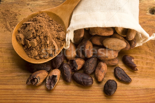Cacau feijões naturalismo mesa de madeira chocolate planta Foto stock © joannawnuk