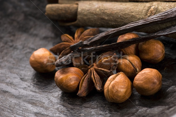 芳香族の スパイス ナッツ 背景 星 黒 ストックフォト © joannawnuk