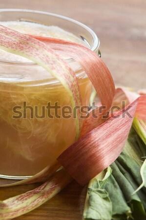 Rabarbar jam szkła jar żywności tablicy Zdjęcia stock © joannawnuk