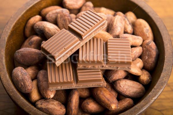 Cacau feijões leite chocolate grupo branco Foto stock © joannawnuk