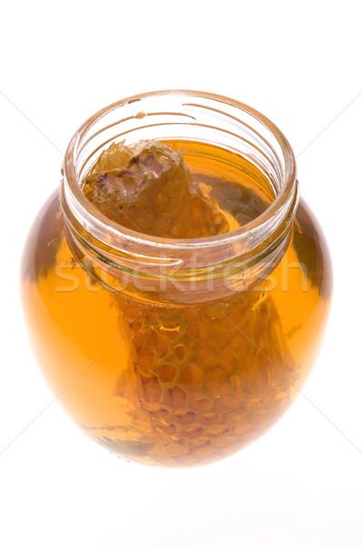 Friss méz méhsejt izolált fehér étel Stock fotó © joannawnuk