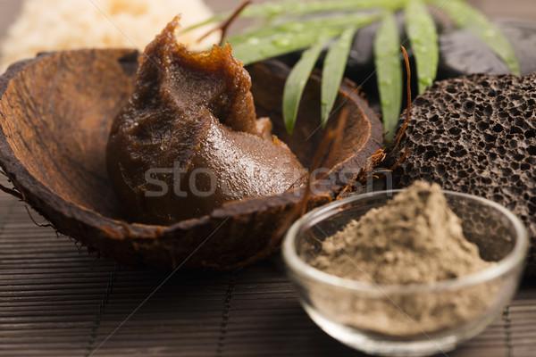 Házi készítésű test cukor olívaolaj arc maszk Stock fotó © joannawnuk