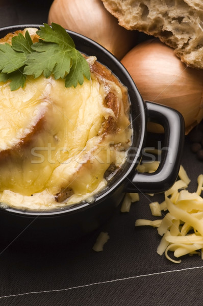 Stock photo: French onion soup with ingredients