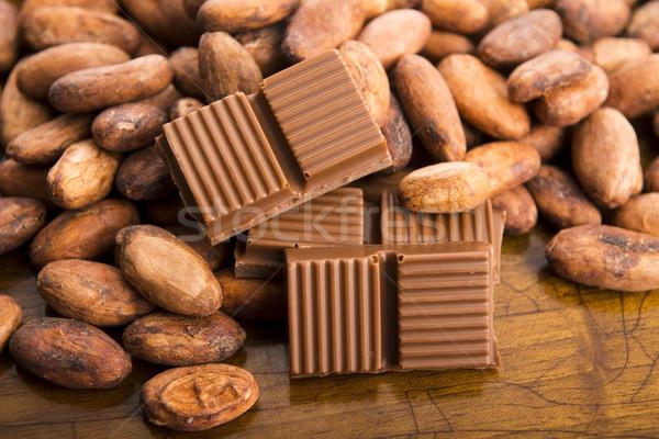 Cacao beans with milk chocolate Stock photo © joannawnuk