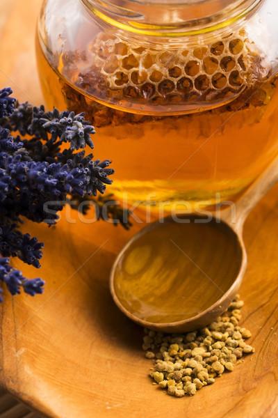 Lavanda miele di ape polline miele pettine legno Foto d'archivio © joannawnuk