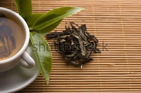 Chá verde copo folhas bambu bandeja água Foto stock © joannawnuk