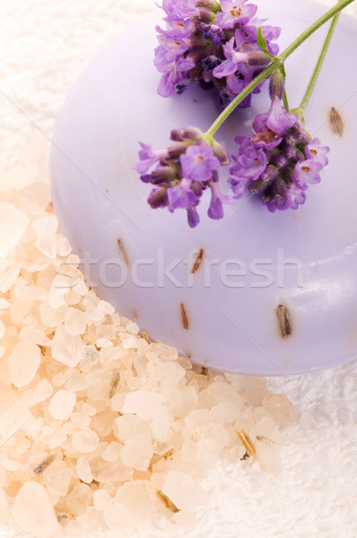 ストックフォト: 石鹸 · 新鮮な · ラベンダー · 花 · ボディ