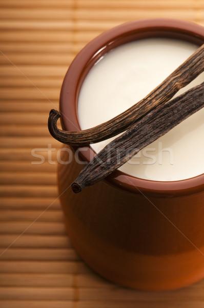 ストックフォト: 甘い · バニラ · プリン · デザート · 食品 · ミルク