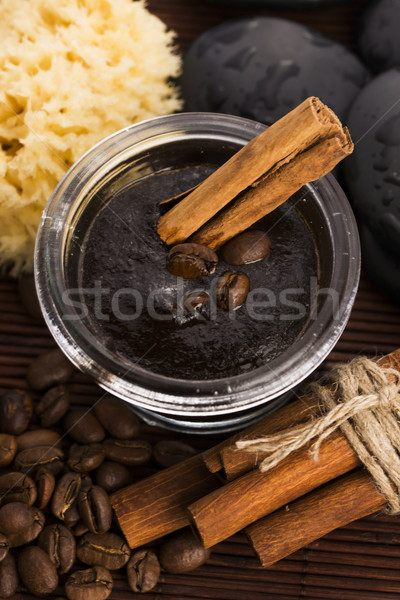 Homemade face and body organic all natural coffee scrub (peeling Stock photo © joannawnuk