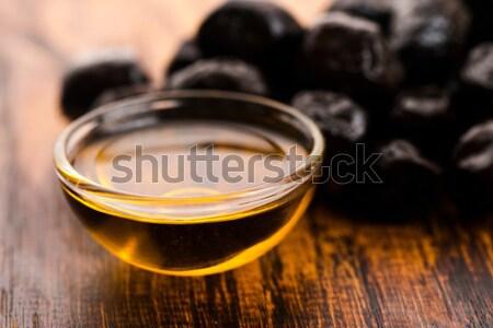 Siyah zeytin zeytinyağı çerçeve şişe siyah Stok fotoğraf © joannawnuk