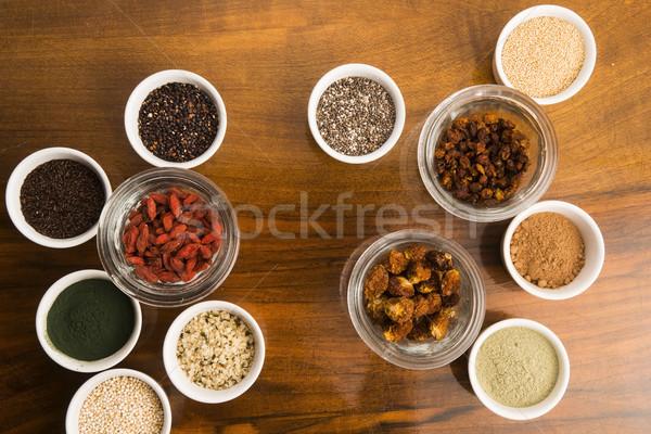 bowls of various superfoods Stock photo © joannawnuk