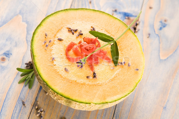fresh melon soup with parma ham and lavender flower Stock photo © joannawnuk