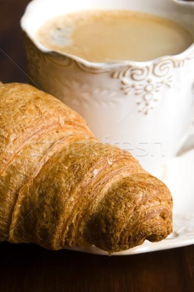 завтрак Кубок черный кофе круассаны газета Новости Сток-фото © joannawnuk