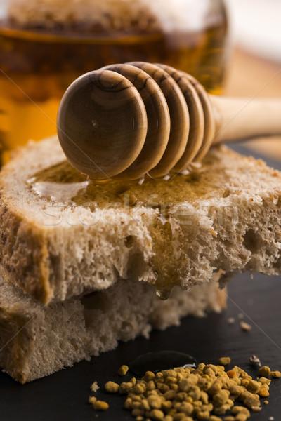 Brood jar lavendel honing bloem voedsel Stockfoto © joannawnuk
