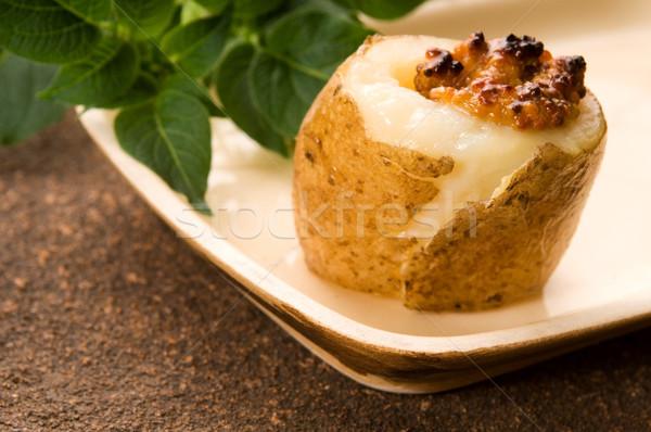 Stock fotó: Sült · krumpli · tejföl · gabona · mustár · gyógynövények