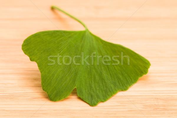Fresh Leaves Ginkgo On The Wood Stock photo © joannawnuk