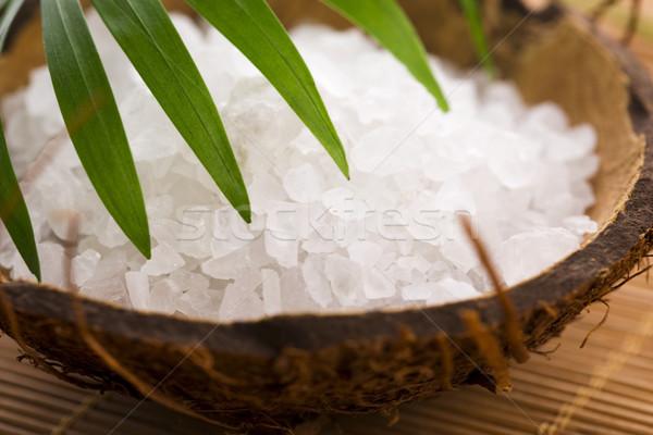 sea salt with palm leaf Stock photo © joannawnuk