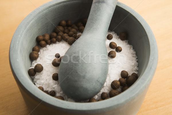 mortar pestle and salt Stock photo © joannawnuk