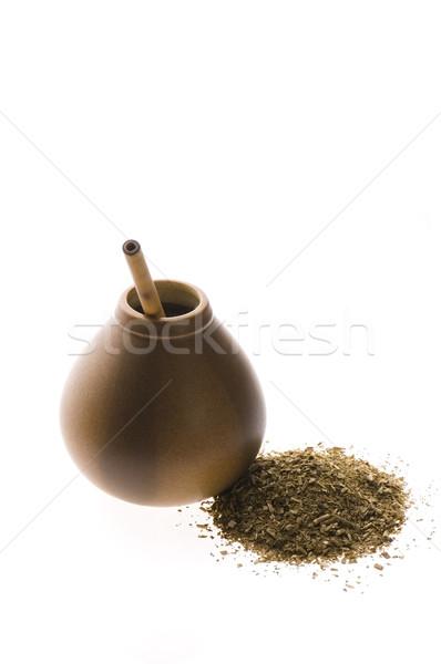 argentinian calabash with yerba mate isolated on white backgroun Stock photo © joannawnuk