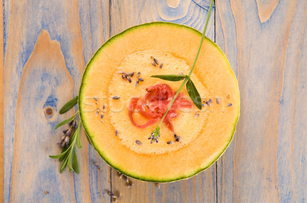 Zdjęcia stock: świeże · melon · zupa · szynka · lawendy · kwiat