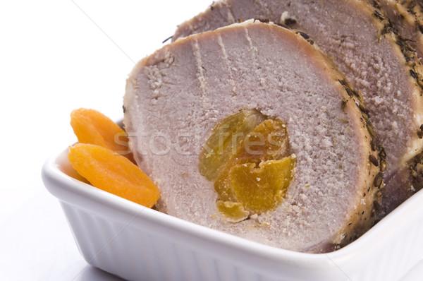 Roasted pork loin with dried apricots Stock photo © joannawnuk