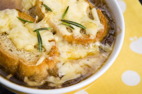 Francia hagyma leves hozzávalók étel fa Stock fotó © joannawnuk