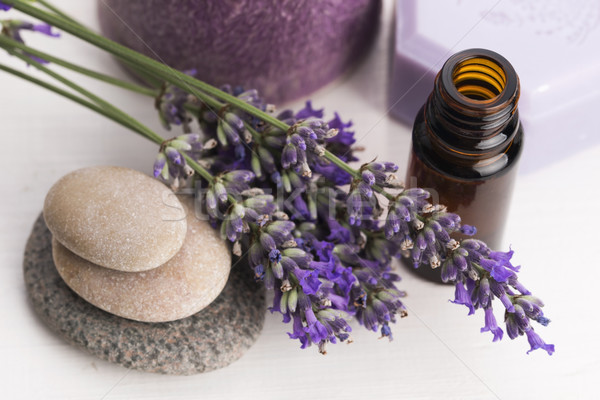 essential oil and lavender flowers Stock photo © joannawnuk