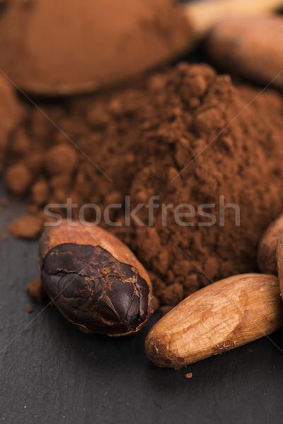 Cacau feijões pó colher comida cozinha Foto stock © joannawnuk
