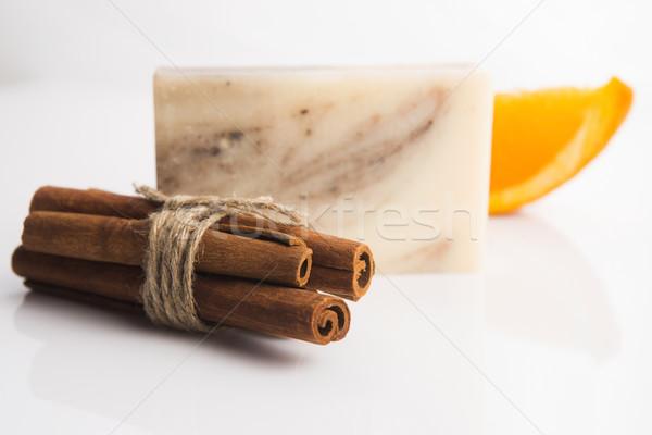 Bár szappan fahéj narancs háttér bőr Stock fotó © joannawnuk