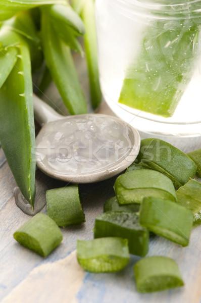 Aloe dzsúz friss levelek levél üveg Stock fotó © joannawnuk