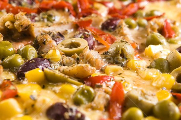 Pizza with chicken, pepper and olives  Stock photo © joannawnuk