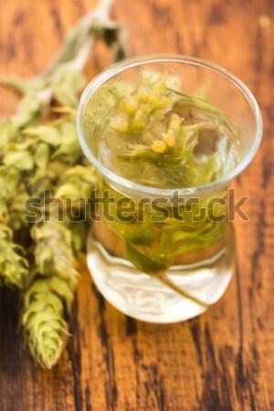 Cannabis gyógynövény tea fából készült háttér zöld ital Stock fotó © joannawnuk