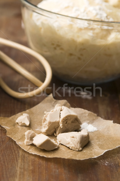 Baker's yeast on wooden board Stock photo © joannawnuk