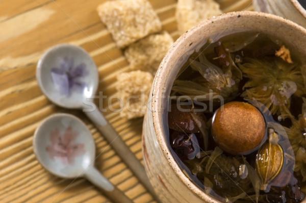 Tee Blatt Früchte Gold Tasse asian Stock foto © joannawnuk