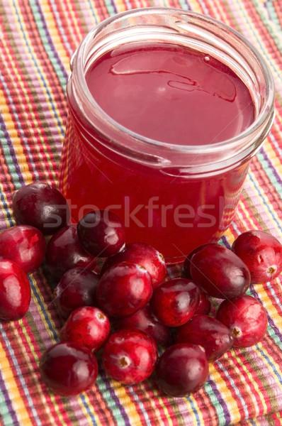 Zselé áfonya üveg gyümölcs asztal ital Stock fotó © joannawnuk