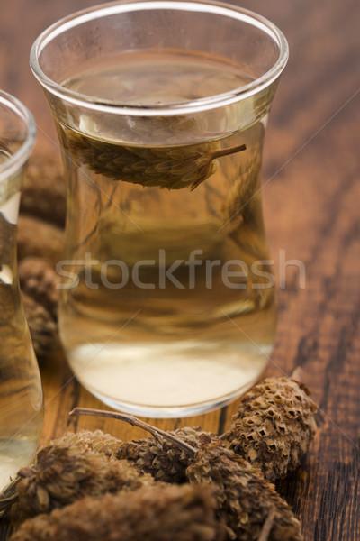 Stockfoto: Glas · wild · lavendel · thee · bloemen · tabel