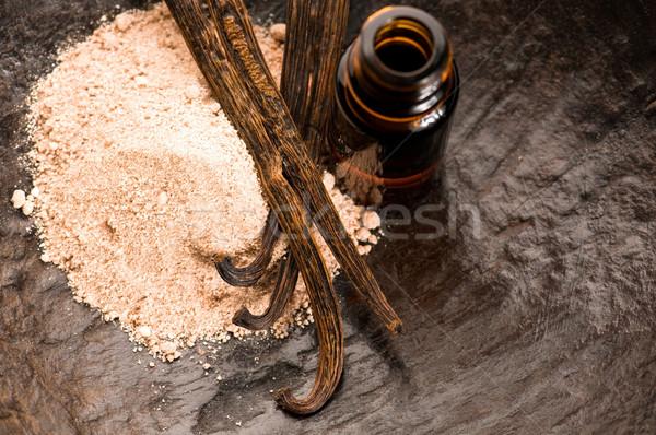 Vanilla With Bottle Of Essential Oil And Powder- Beauty Treatmen Stock photo © joannawnuk