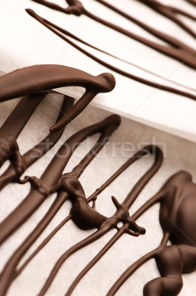 Chocolate traces on a white paper Stock photo © joannawnuk